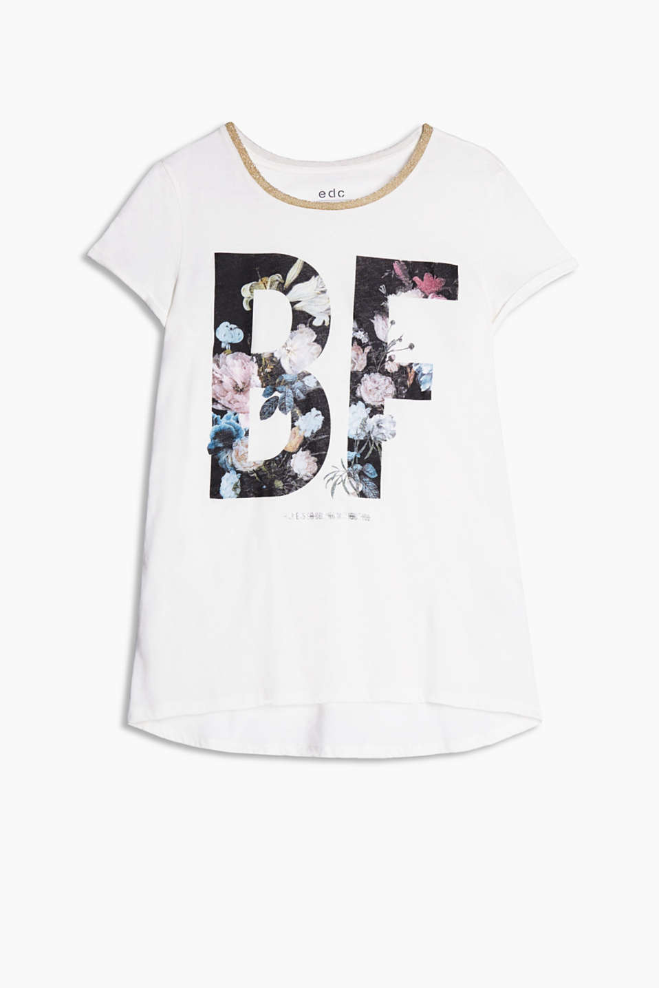 Pure cotton-jersey T-shirt with a floral letter print, a glittering ribbed neckline and a high-low hem