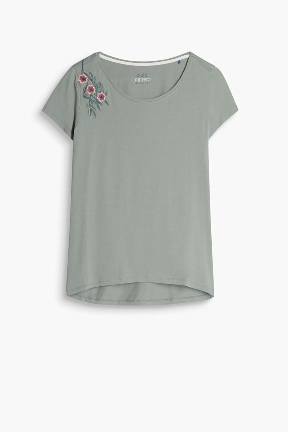 With floral embroidery: round neck T-shirt in soft cotton jersey