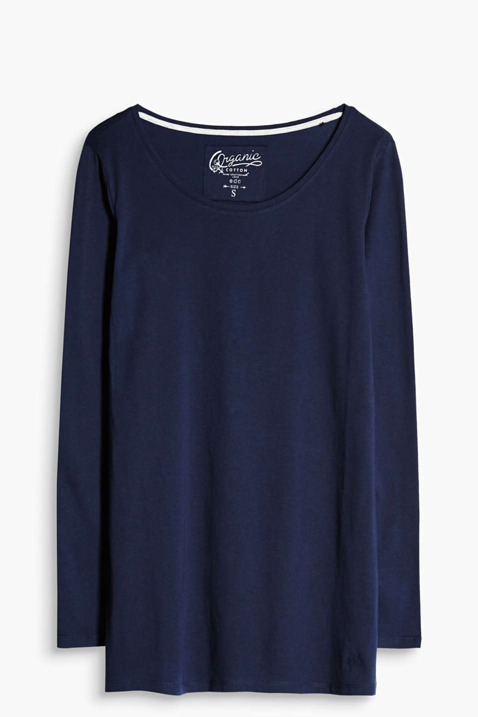 Made of pure organic cotton: longer, fitted long sleeve top with a round neckline.