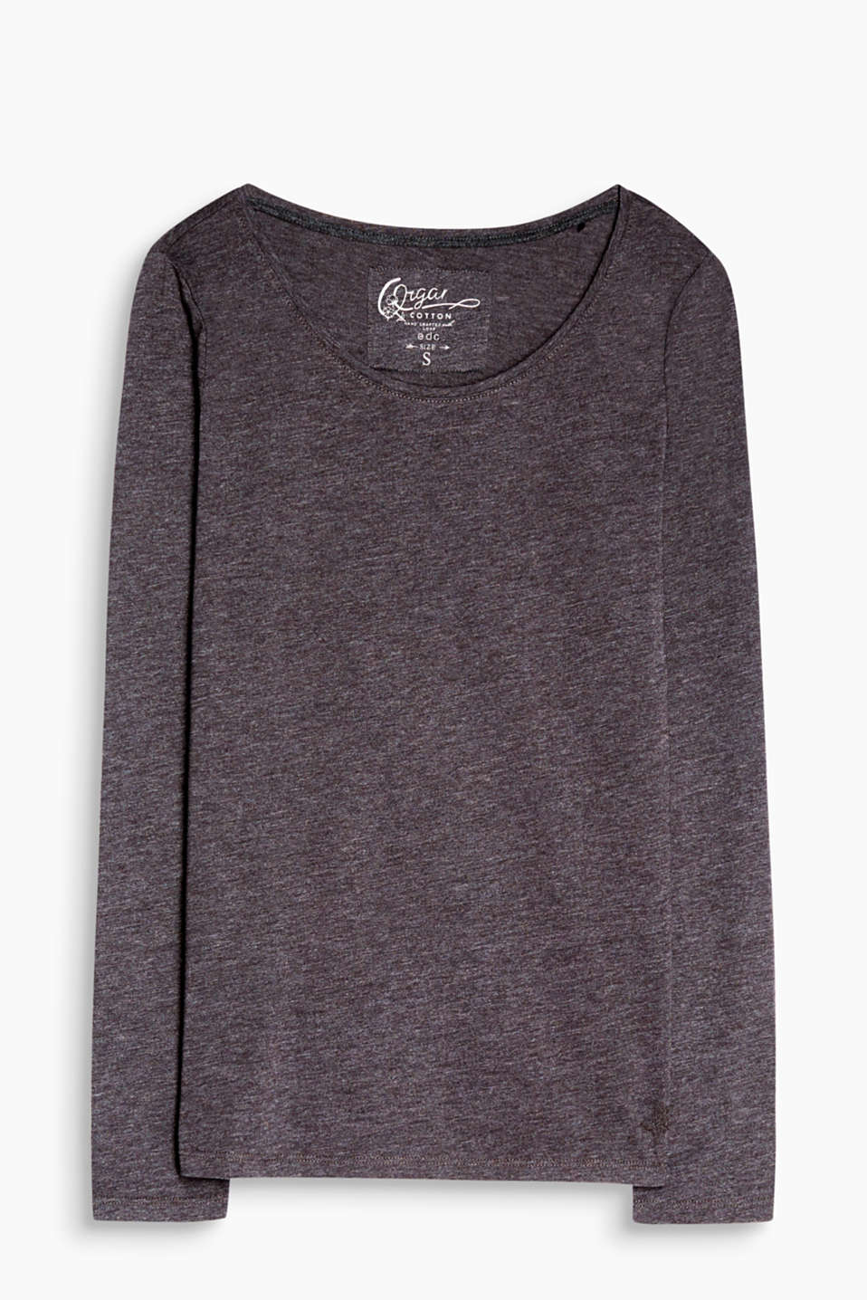 Melange basic long sleeve top with a fitted design and high percentage of organic cotton