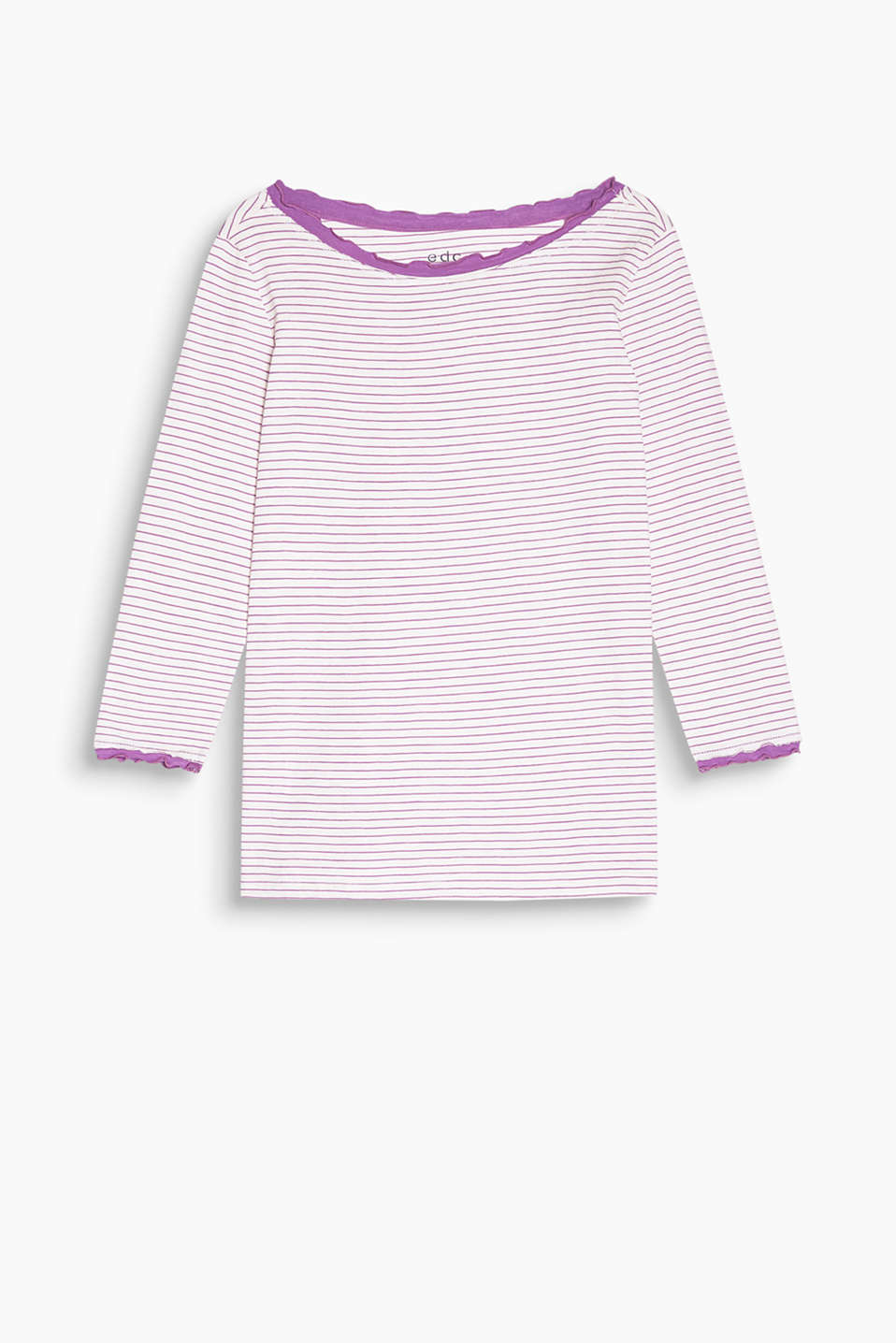 Striped top with pretty layered effects, 100% cotton