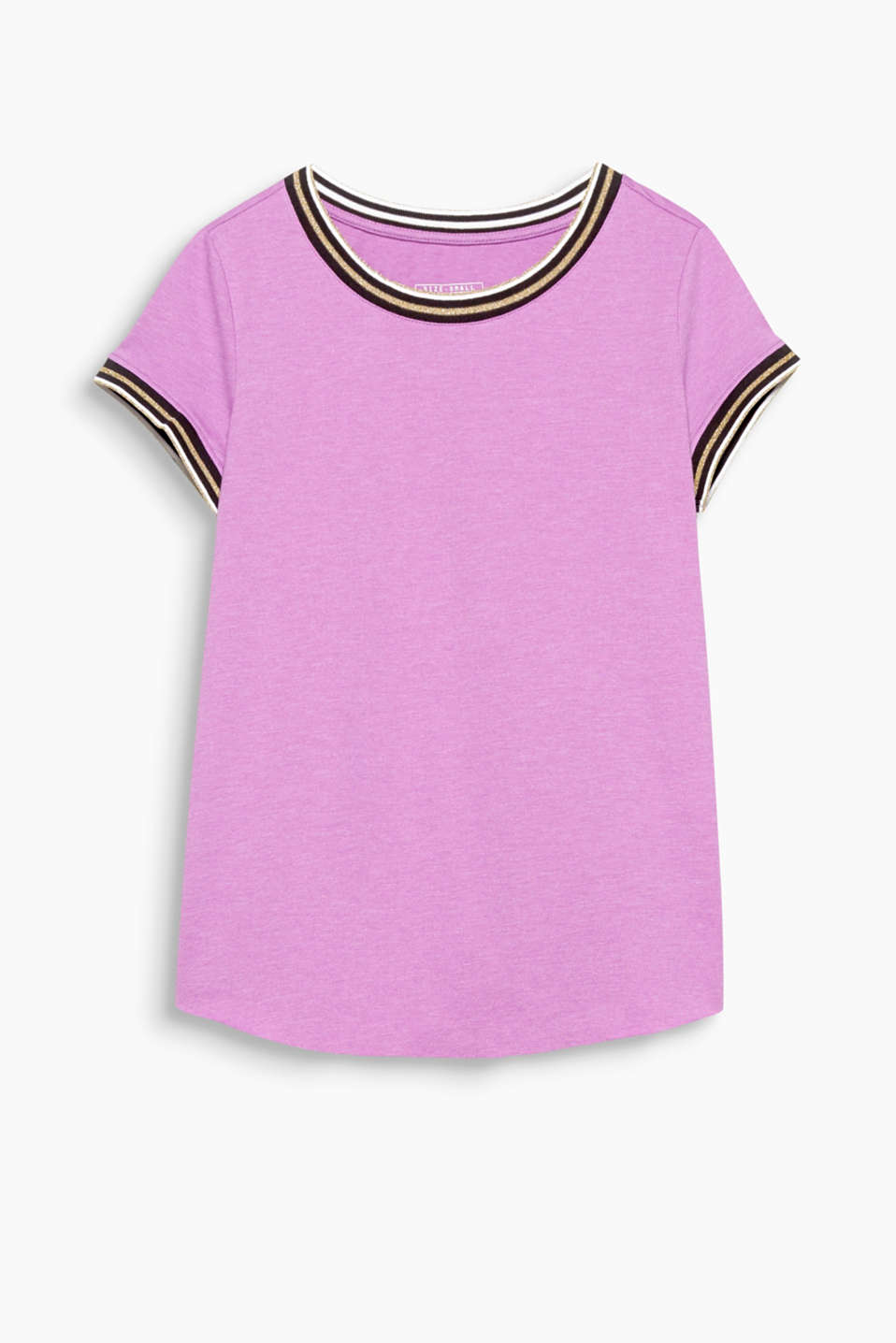 Blended cotton T-shirt with a curved, unfinished hem and wide, round neckline