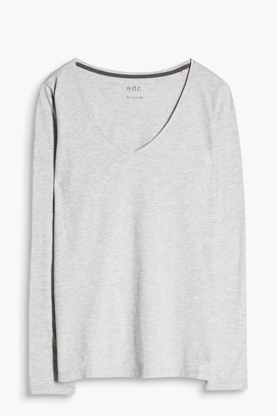 Flowing, melange long sleeve top with a V-neckline in a cotton blend