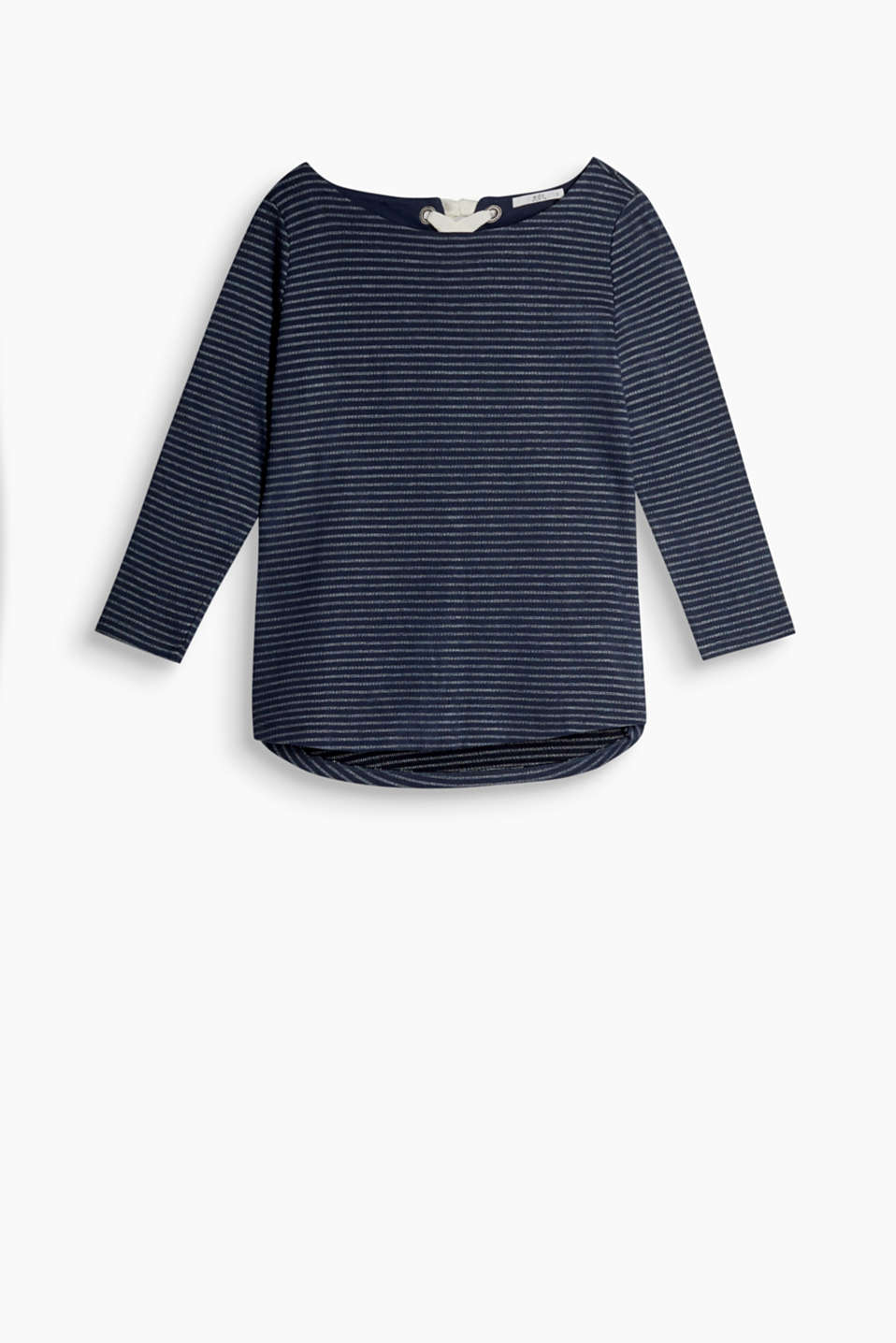 Long sleeve top made of soft blended cotton with stripes, 3/4 sleeves and decorative lacing at the back of the neck