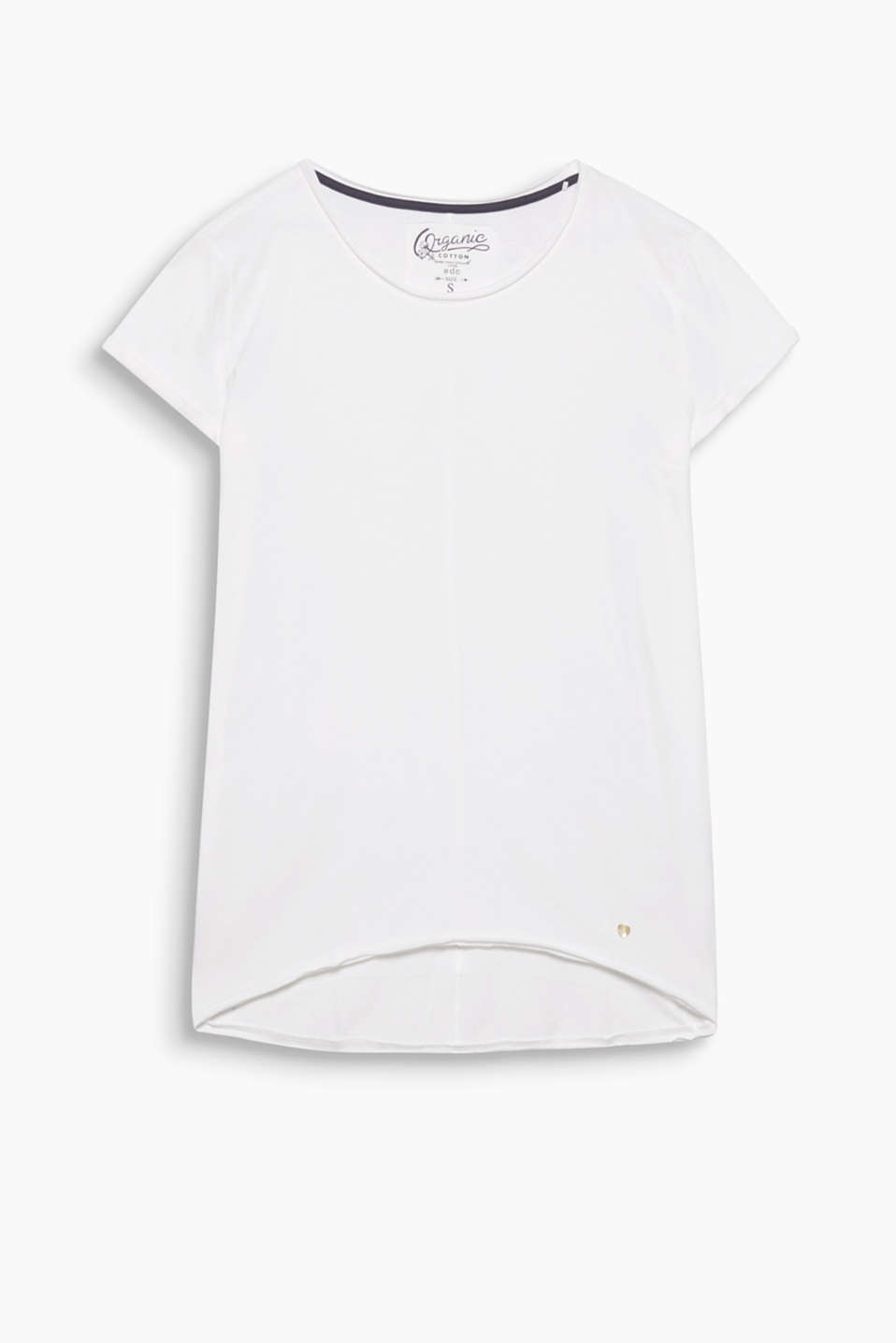 Cotton blend T-shirt with a wide round neckline, a high-low hem and turned-up, fixed sleeve ends