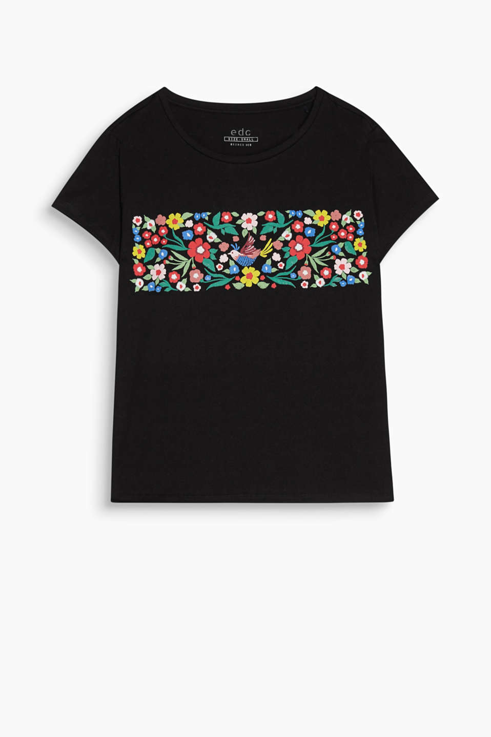 Boxy round-neck T-shirt with a 3D floral print