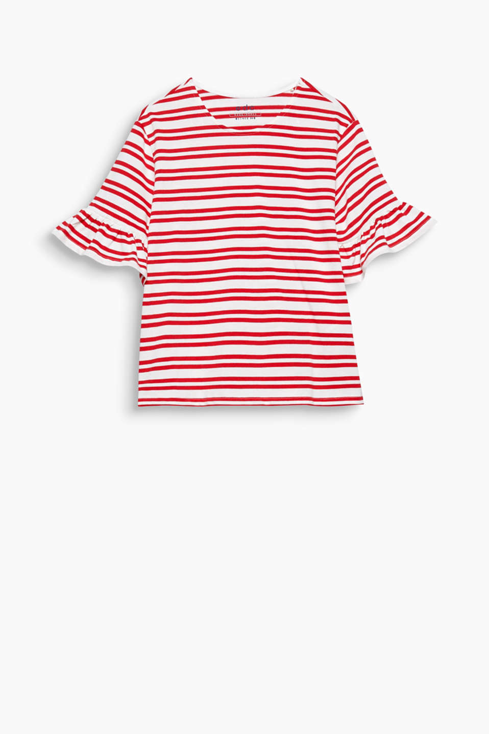 T-shirt with a round neckline and flounces on the sleeve ends in 100% cotton with a nautical striped pattern