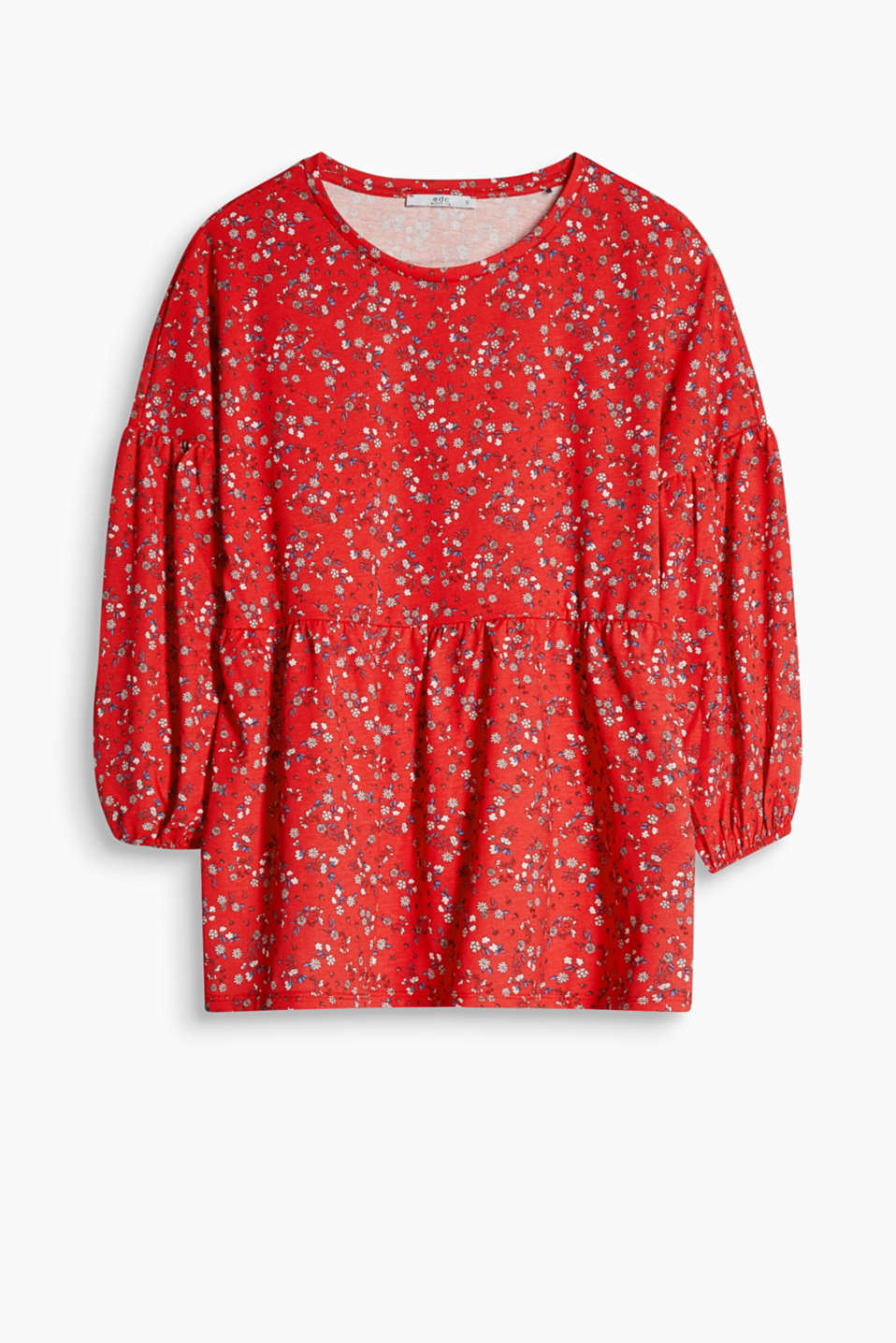 Feminine boxy top with a flounce and a floral or polka dot print, in pure cotton