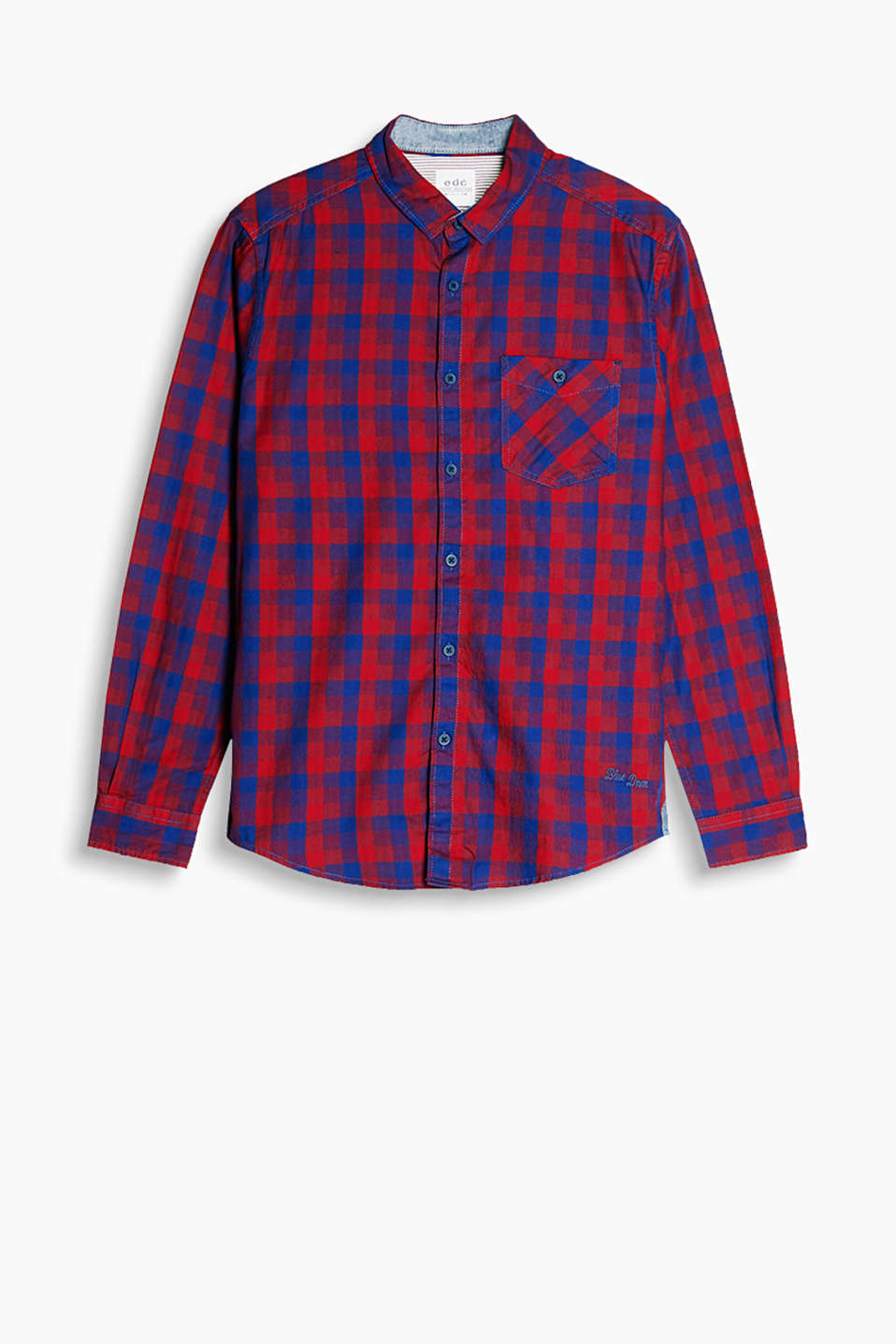 Shirt with a narrow collar, button-fastening breast pocket and a check pattern on pure cotton fabric