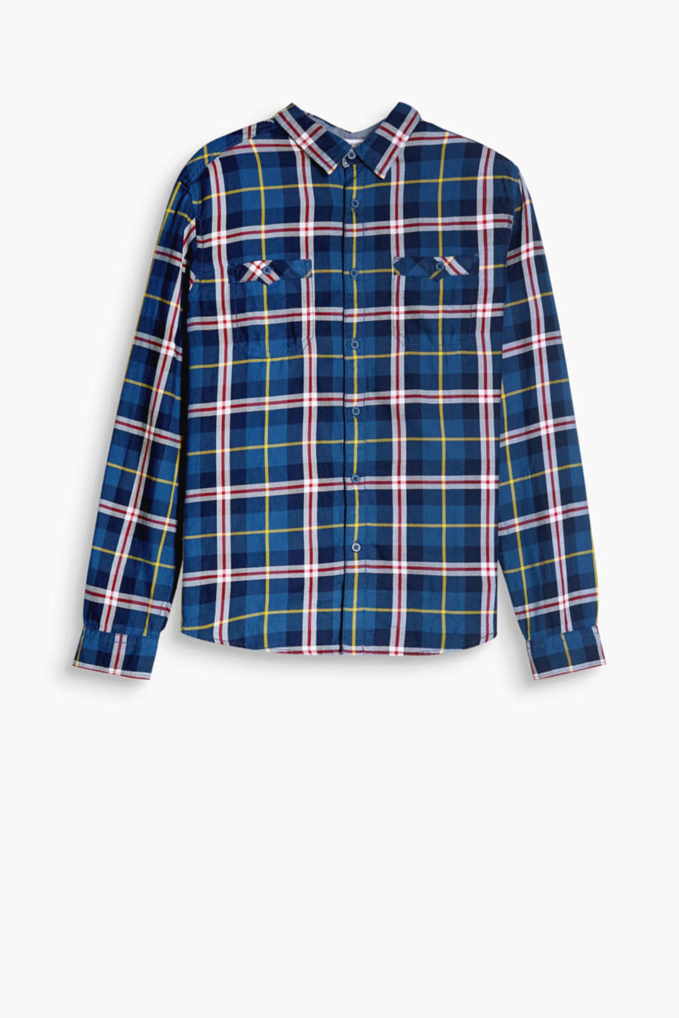 Shirt with a large Prince of Wales check pattern with a button-down breast pockets and a narrow collar