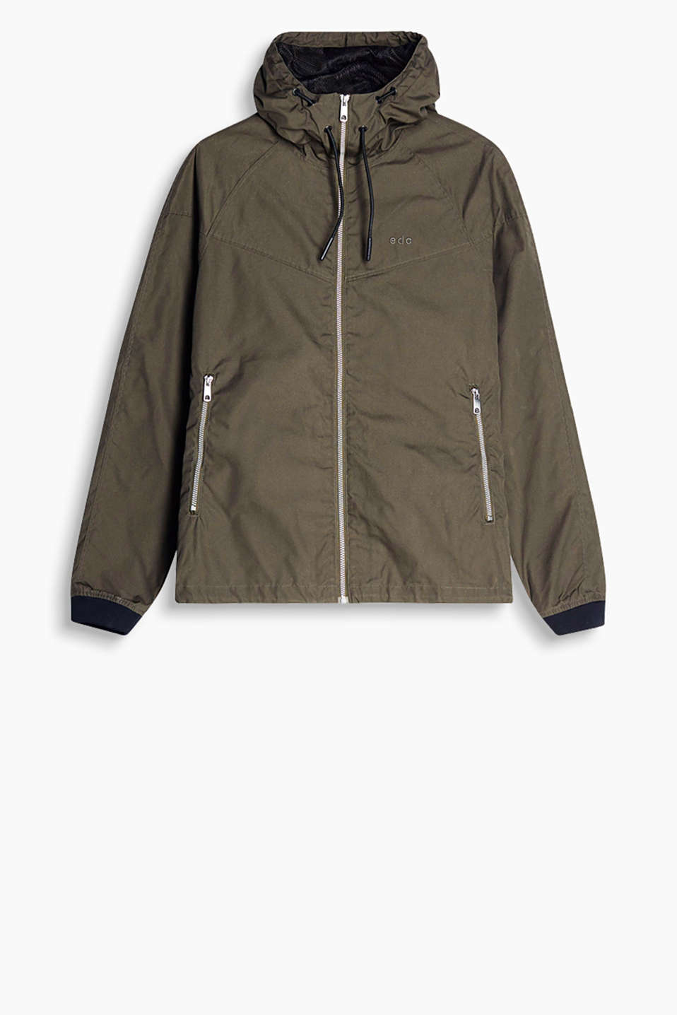 Casual hooded jacket in a functional look, cotton blend