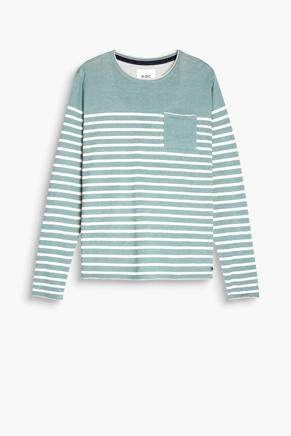 Made of 100% cotton: striped jumper with rolled edges and a breast pocket