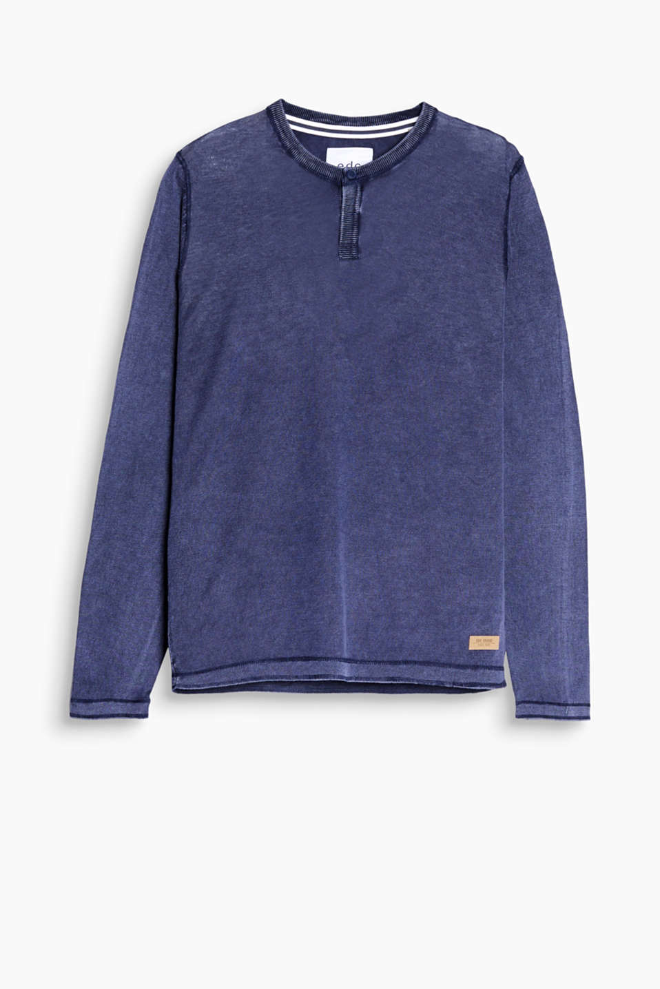 Pure cotton, long sleeve Henley in a cool, trendy wash with ribbed edges