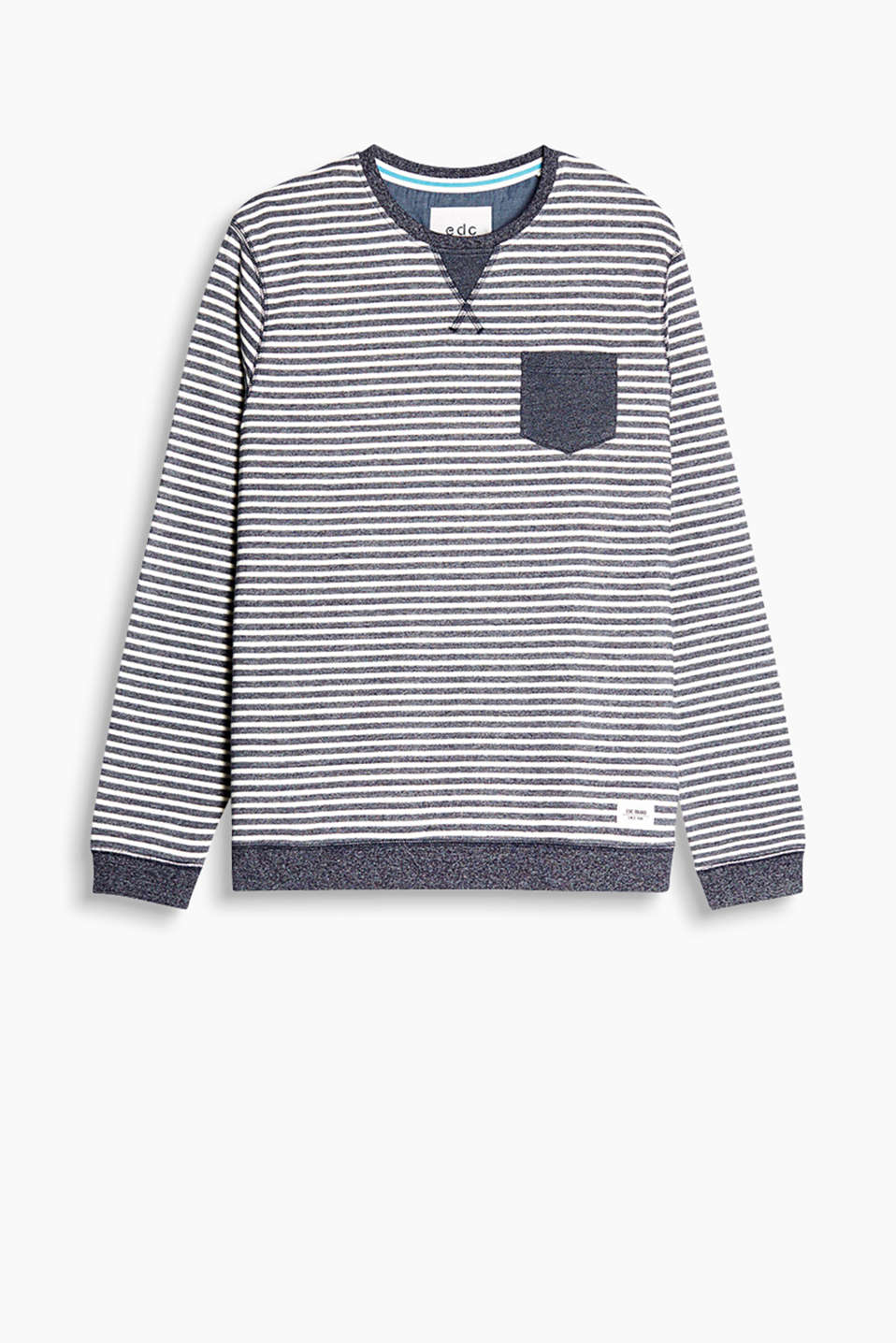 Sweatshirt in soft blended cotton with a patch breast pocket and ribbed cuffs