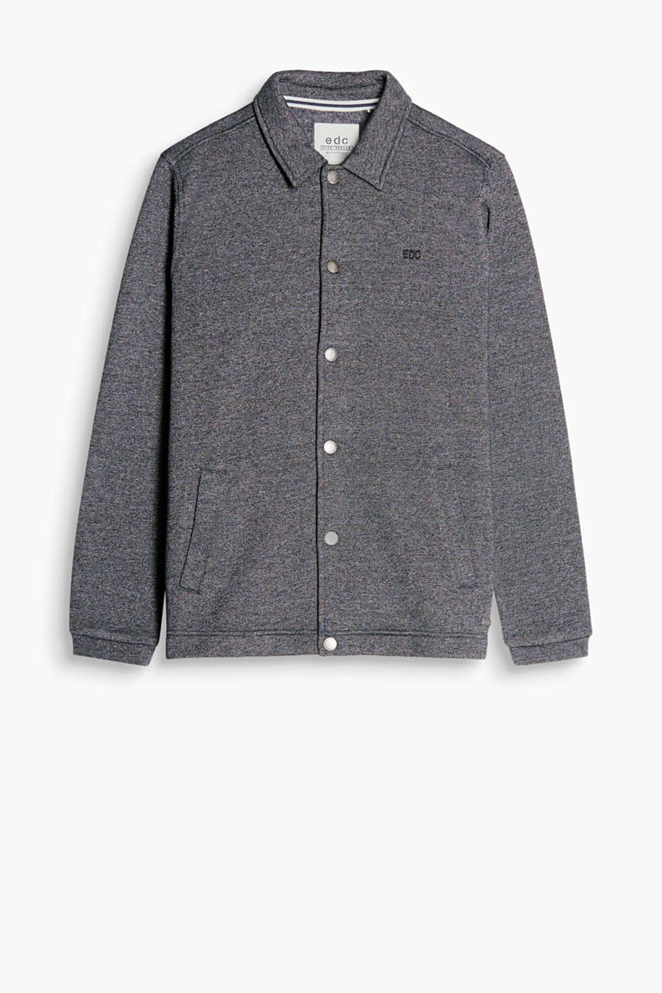 Sweatshirt cardigan in a soft cotton blend with logo embroidery, a shirt collar and press studs