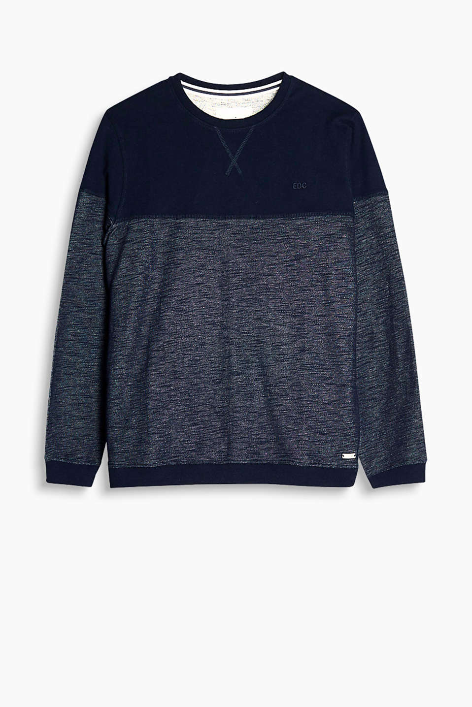 In a texture mix: sweatshirt with ribbed trims on the collar, cuffs and hem, 100% cotton