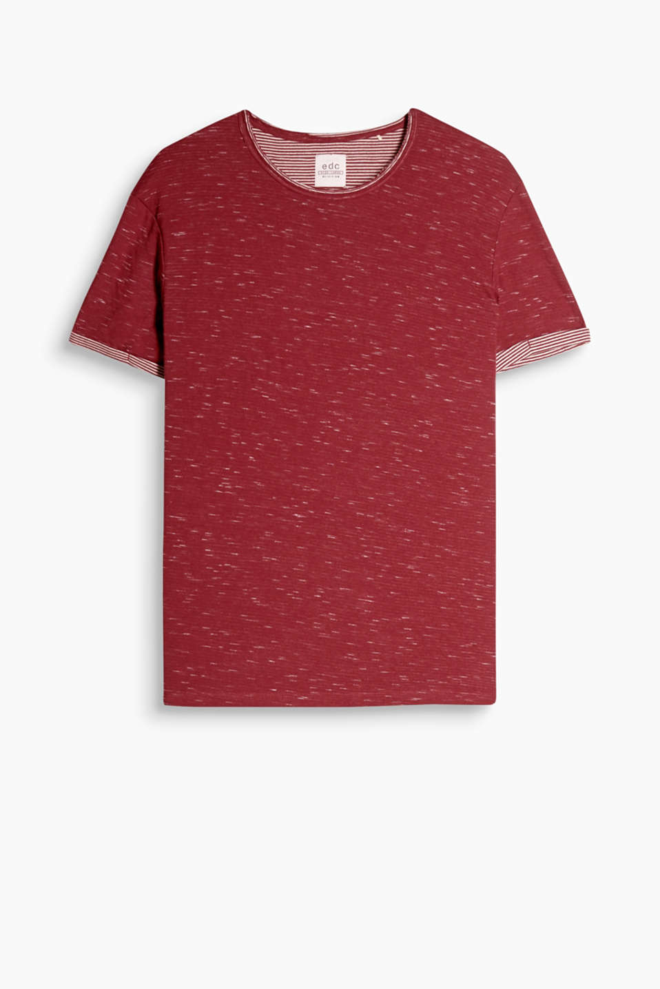 T-shirt with a round neckline and turned-up sleeve ends made of double-faced cotton, with a striped reverse side