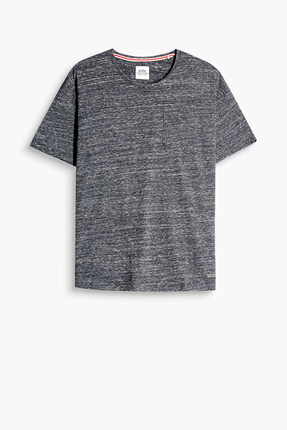 Boxy T-shirt in pure cotton jersey With a patch breast pocket and a round neckline