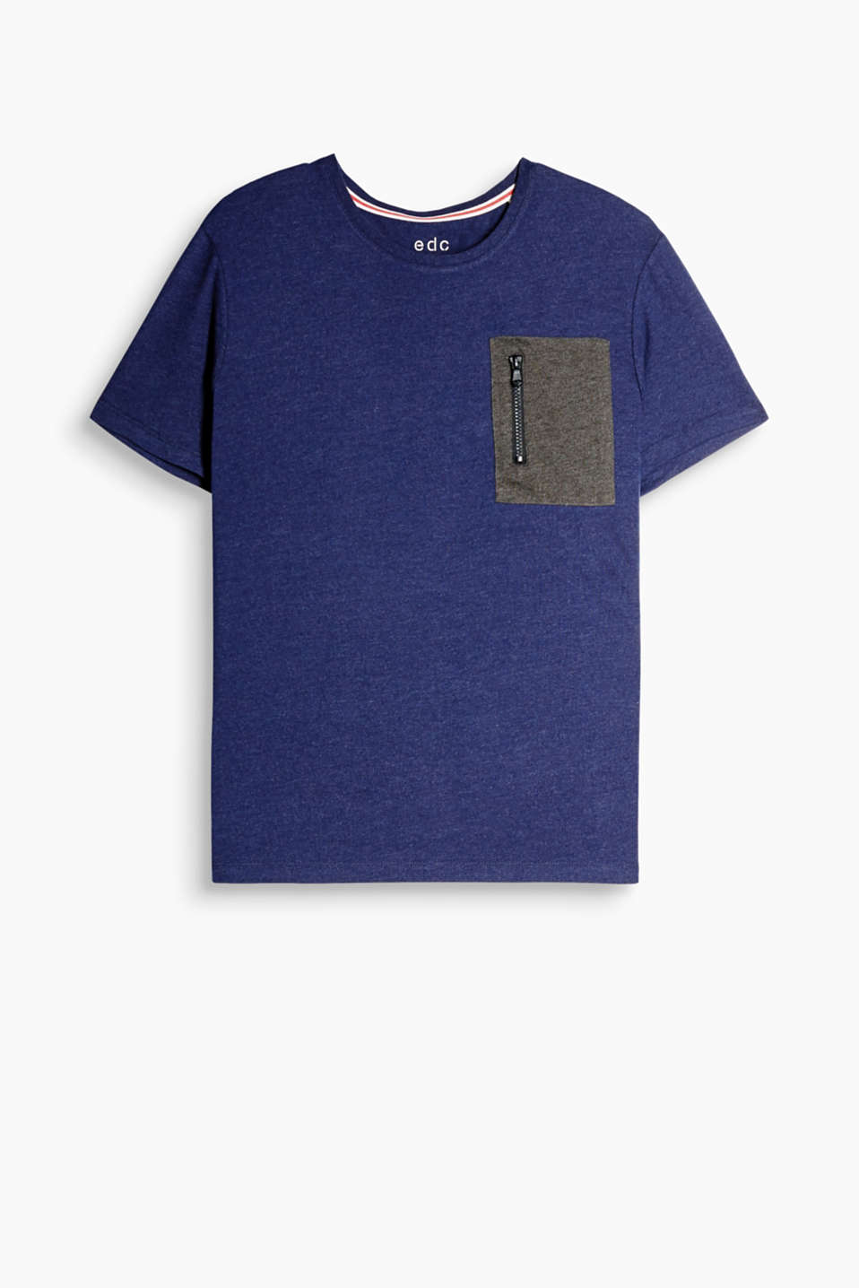 T-shirt made of melange cotton-jersey with a worn zipped breast pocket and a ribbed round neckline
