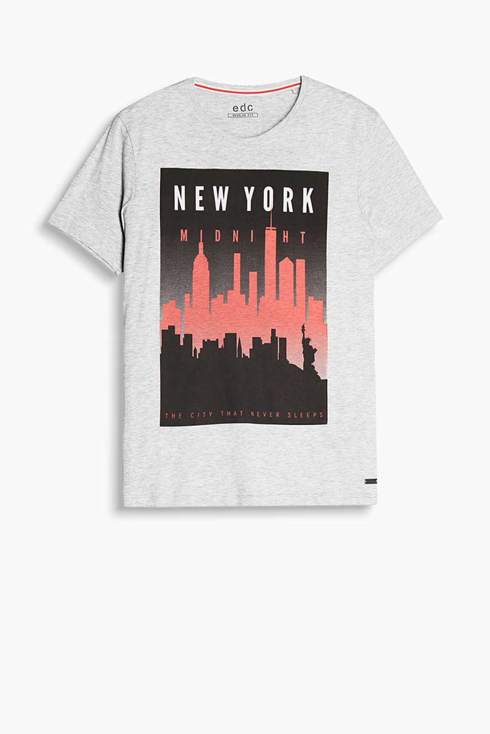 With a New York print in a retro postcard style: T-shirt in pure cotton jersey