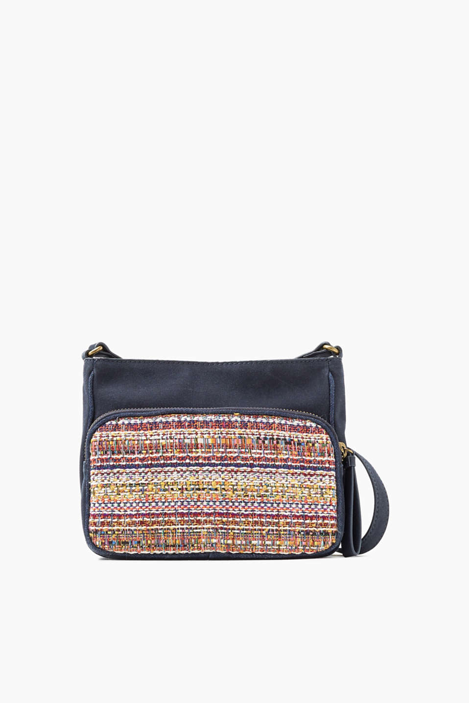 Shoulder bag with a length-adjustable shoulder strap and striking tweed and denim