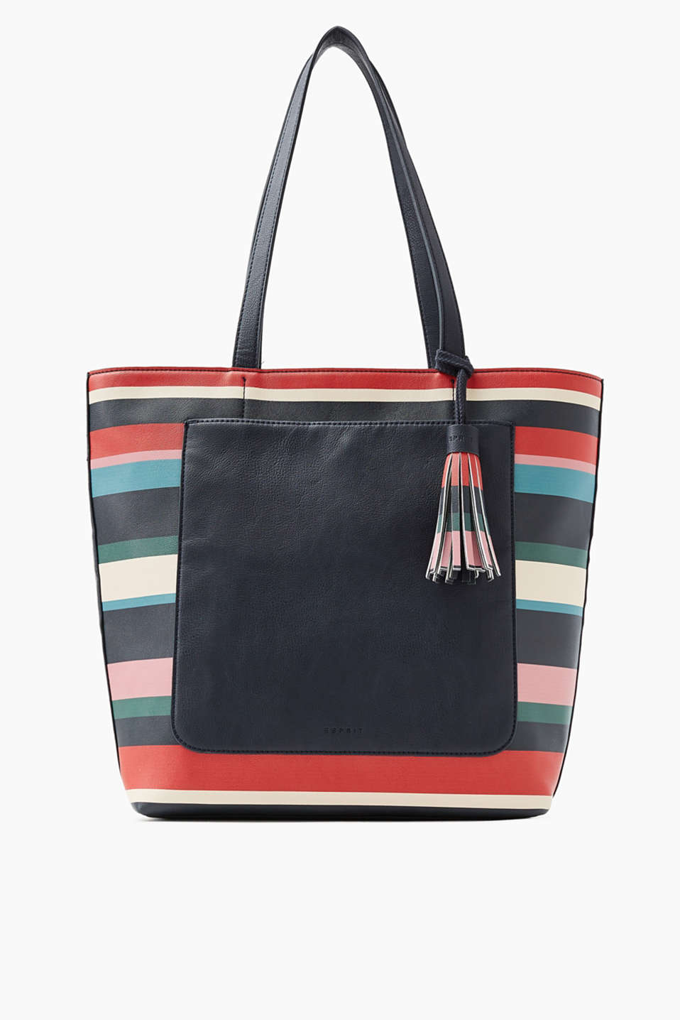 In smooth faux leather: shopper with a decorative tassel and slit compartment