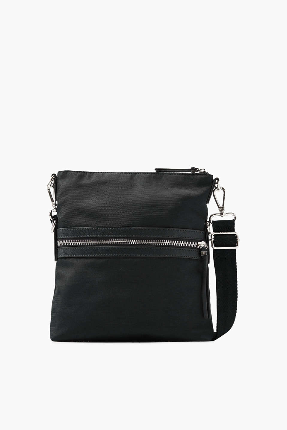 Small shoulder bag made of robust fabric with a grainy texture, features a length-adjustable shoulder strap