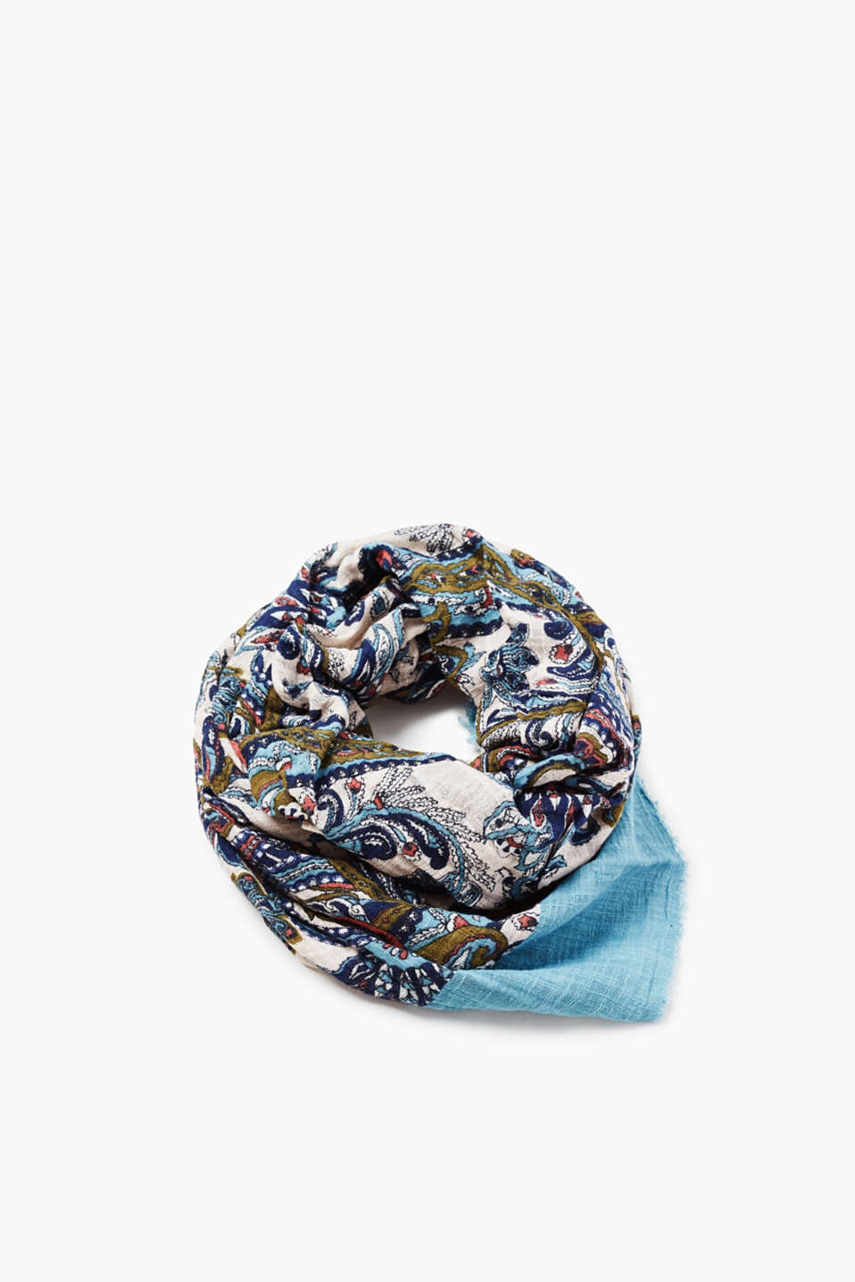 Loosely woven scarf with a colourful paisley pattern, 100% cotton