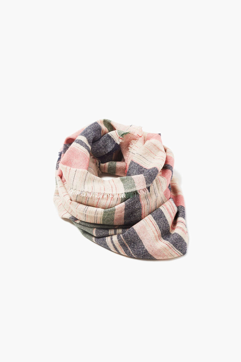 Modern striped scarf with a soft surface, blended wool