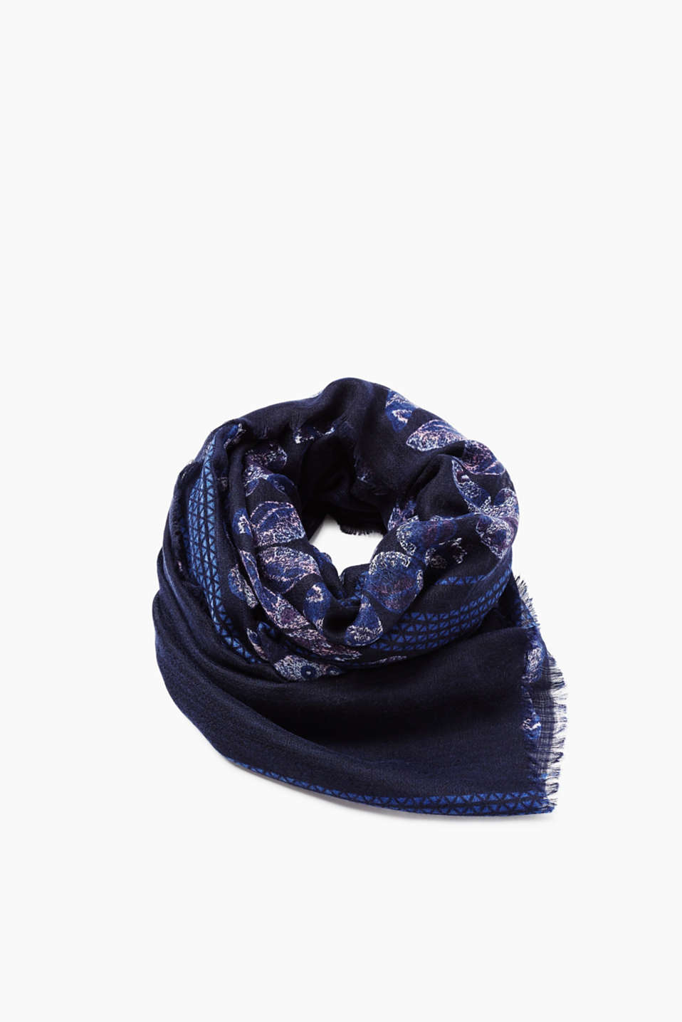 Delicate scarf with an abstract butterfly and mosaic print with a fine texture