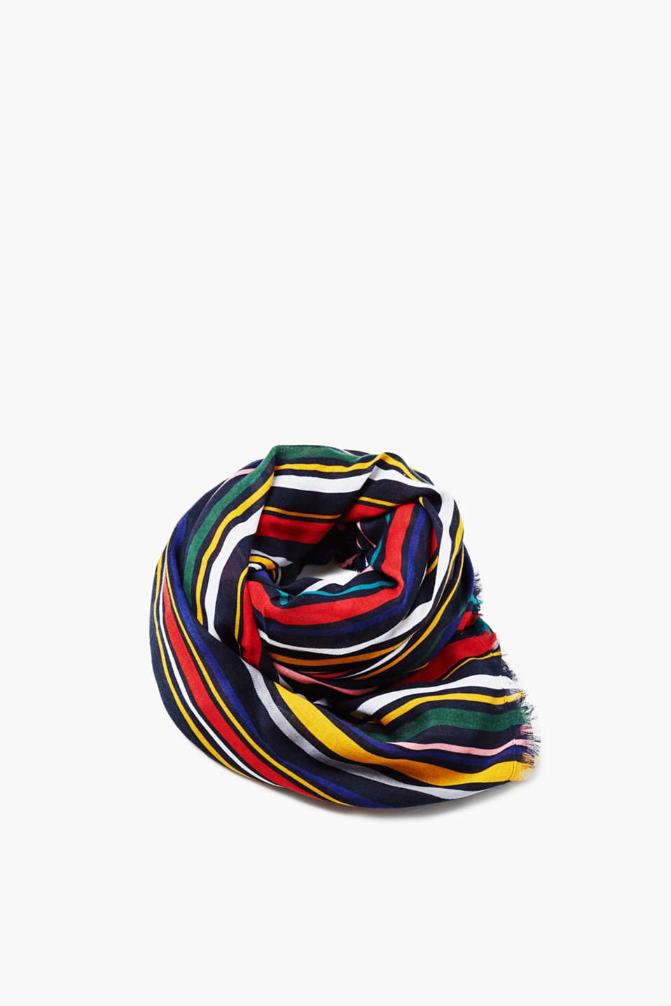 This colourful, eye-catching piece adds a cheery twist to any outfit! A colourful model with vibrant vertical stripes.