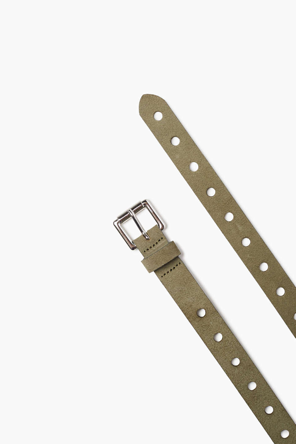 Soft suede belt with holes all over the strap