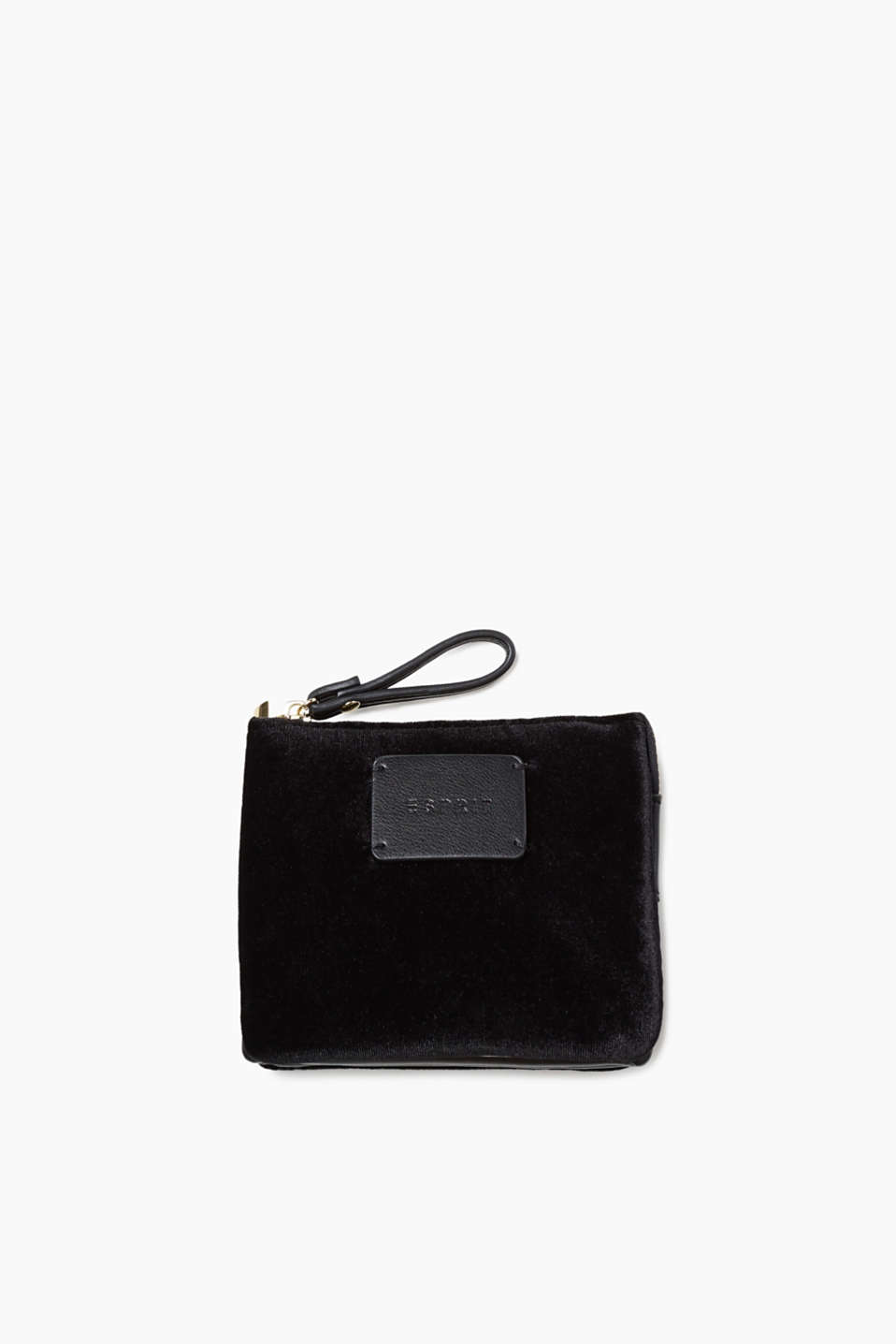Sweet and safe: this velvet wallet with faux leather detailing and an appliquéd logo looks just like a mini clutch!