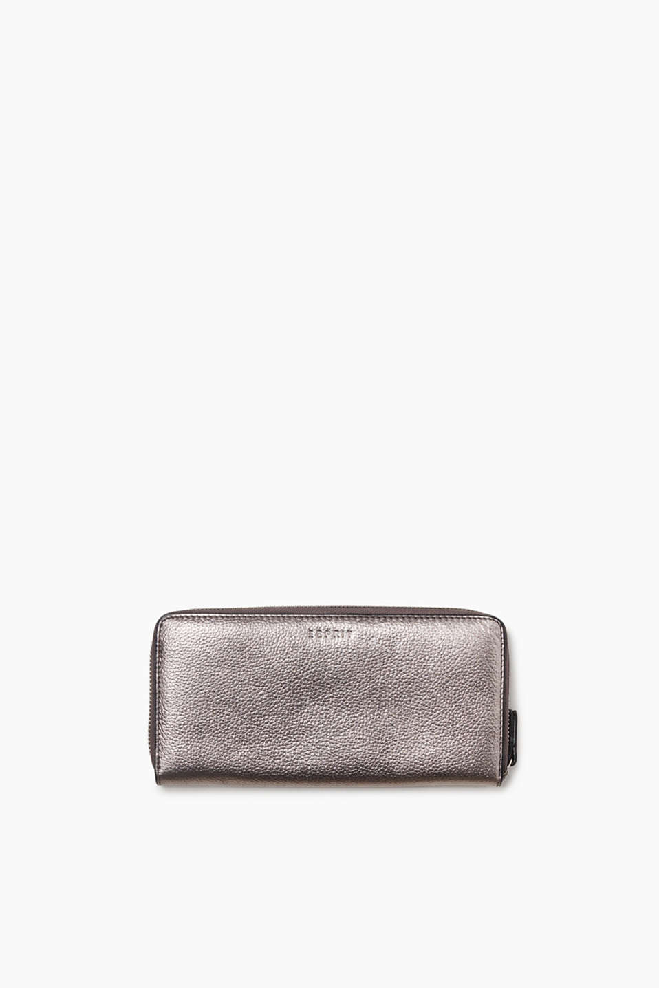 Purse in a waiter-style design with a zip made of finely grained cowhide