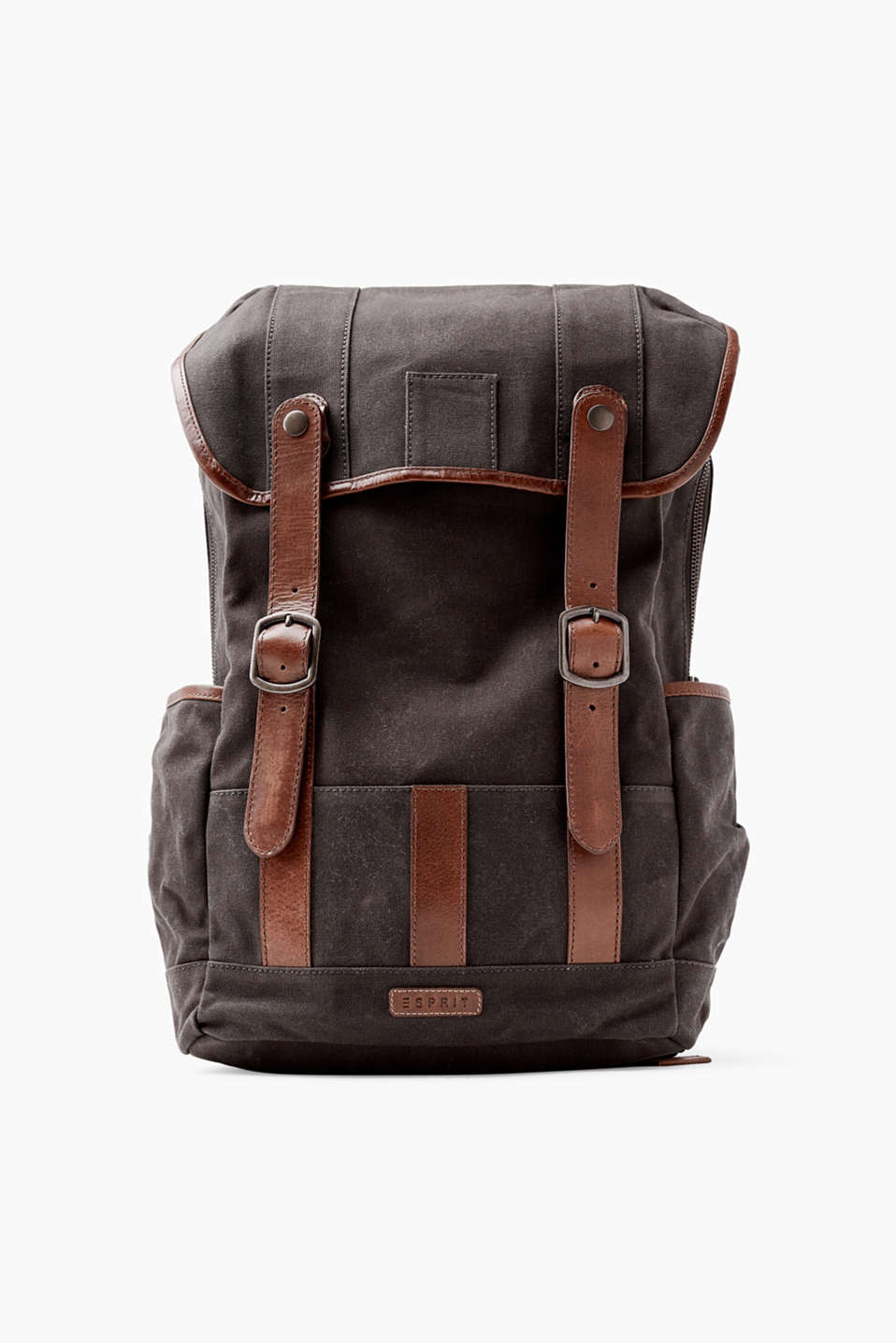 Pure cotton rucksack with leather detailing and a built-in laptop compartment
