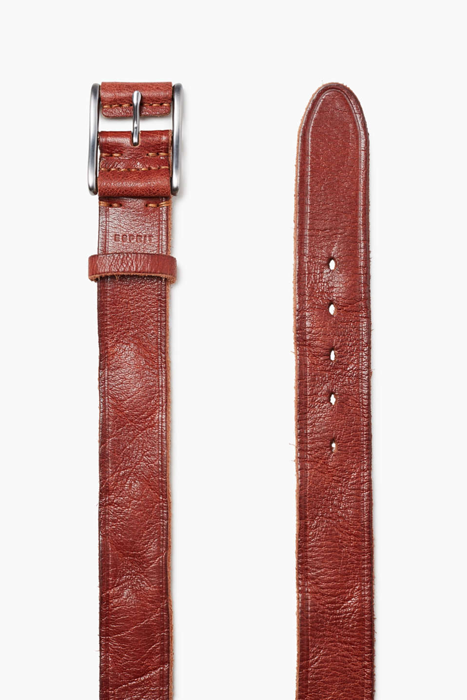 Made of robust buffalo leather: belt with a metal buckle with a leather trim