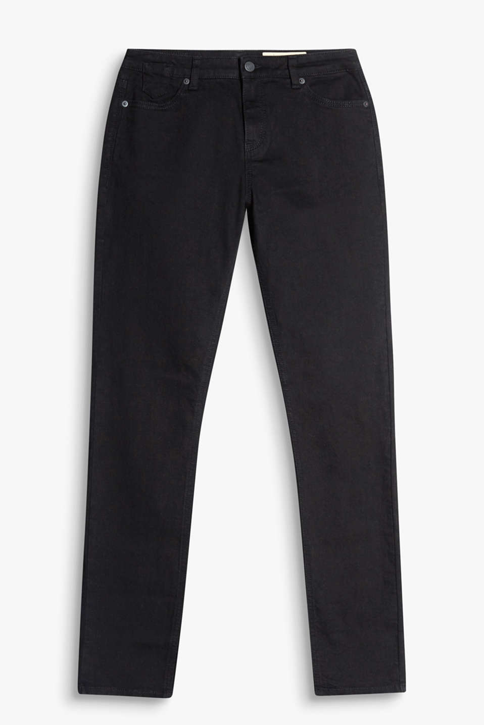 Jet black jeans with added stretch and five pockets