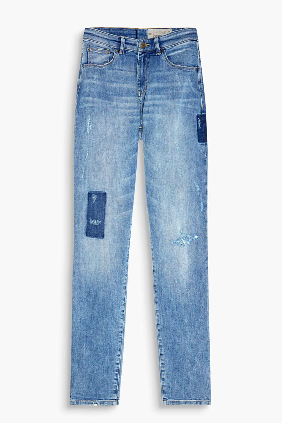 Girlfriend jeans with intense vintage effects and added stretch for comfort