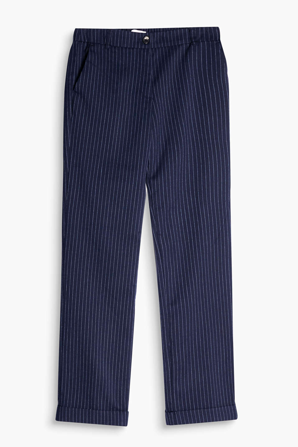 Smart pinstripe trousers with a partial elasticated waistband, pressed pleats and turn-up hems