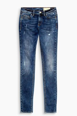 Schmale Stretch-Denim im Used-Look