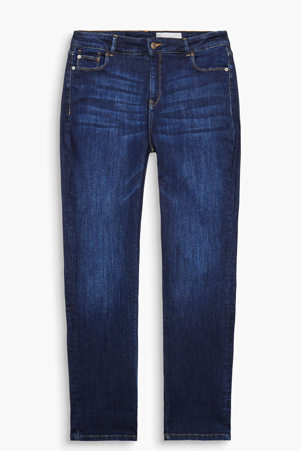 Cool jeans for beautiful curves: the perfect fit in sizes 34 to 37 in a straight leg width, in three garment washes