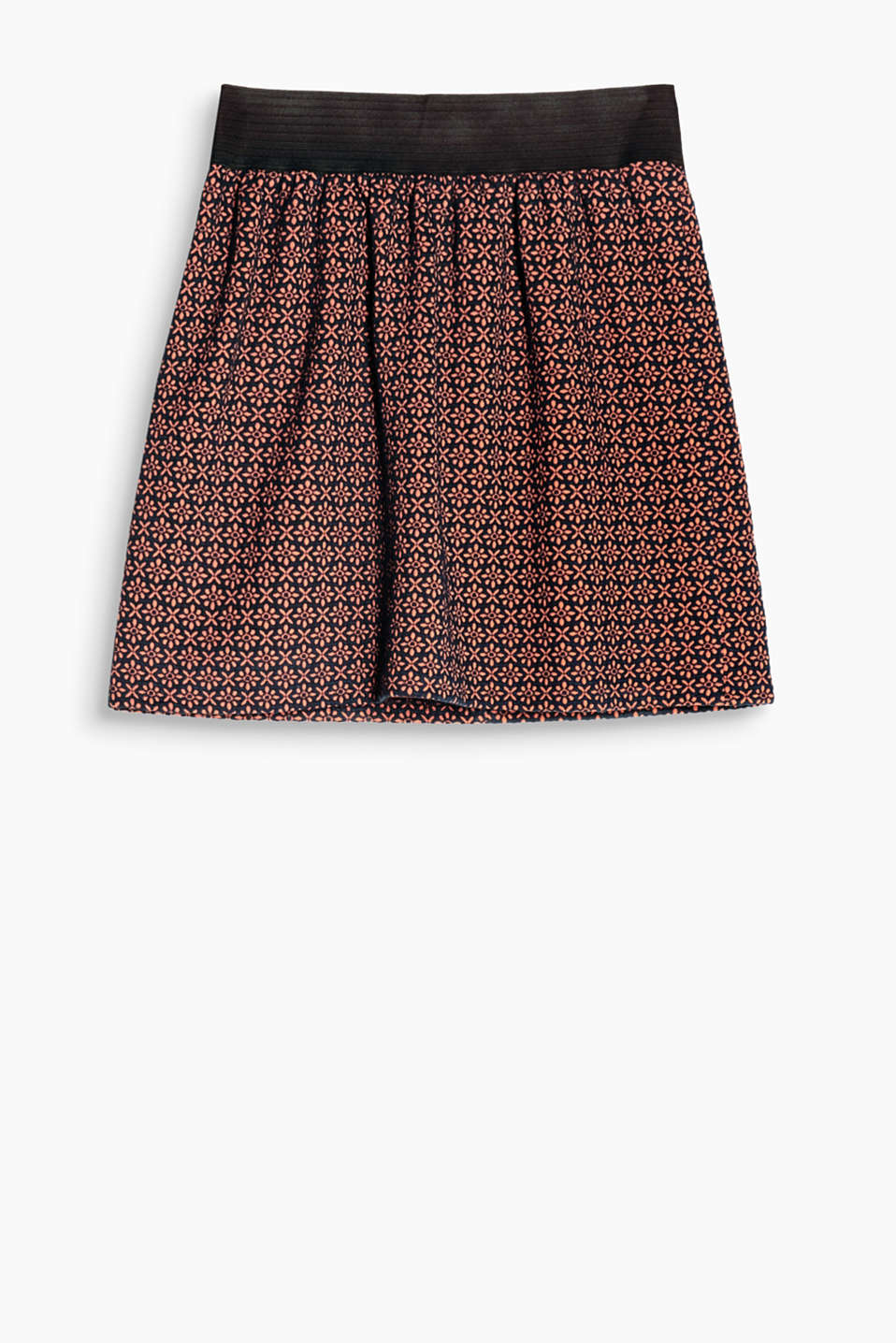 Slightly flared stretch skirt in comfortable jersey with a pretty jacquard pattern and a wide, elasticated waistband