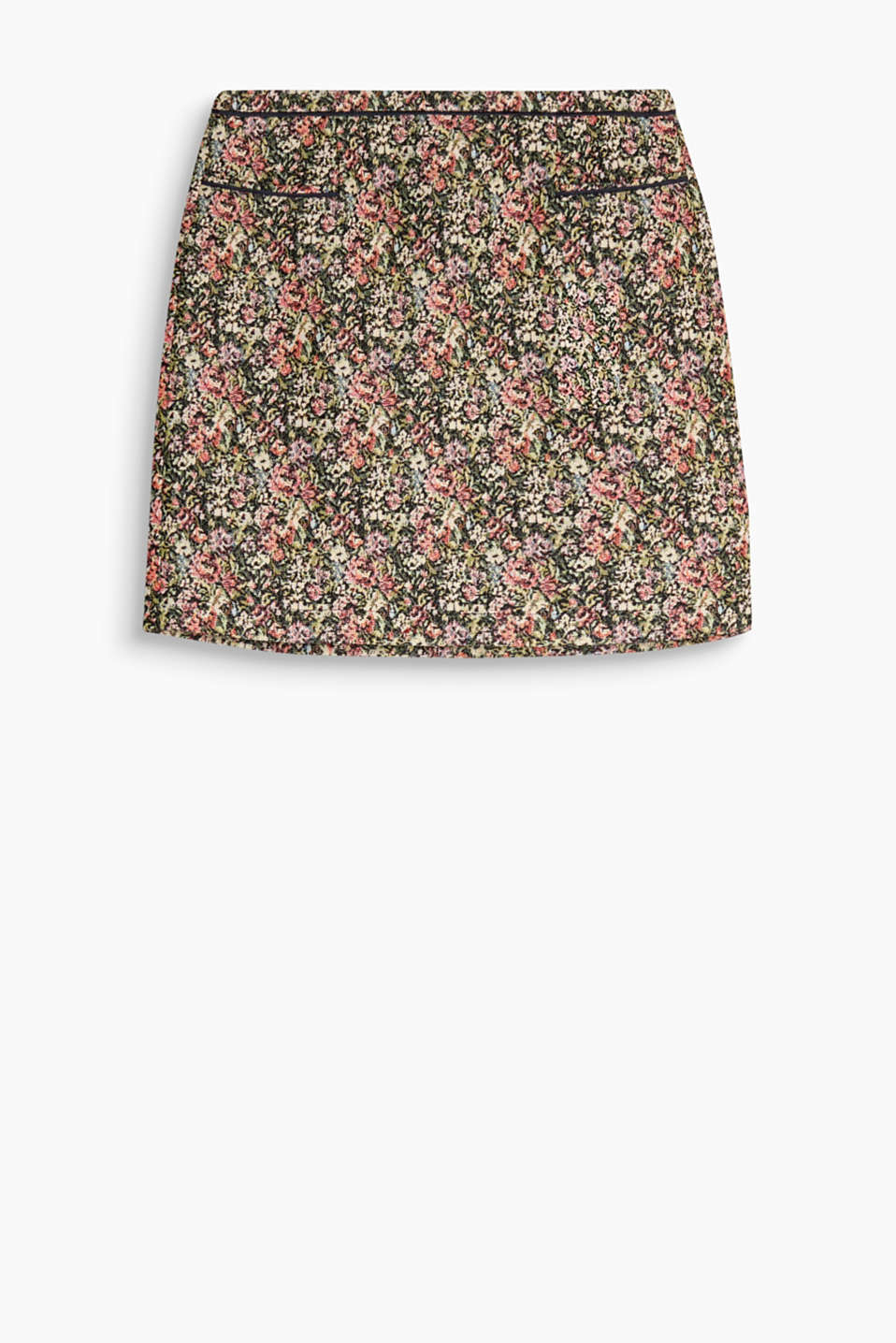 Elegant brocade looks put a new spin on floral patterns: short skirt in floral jacquard fabric