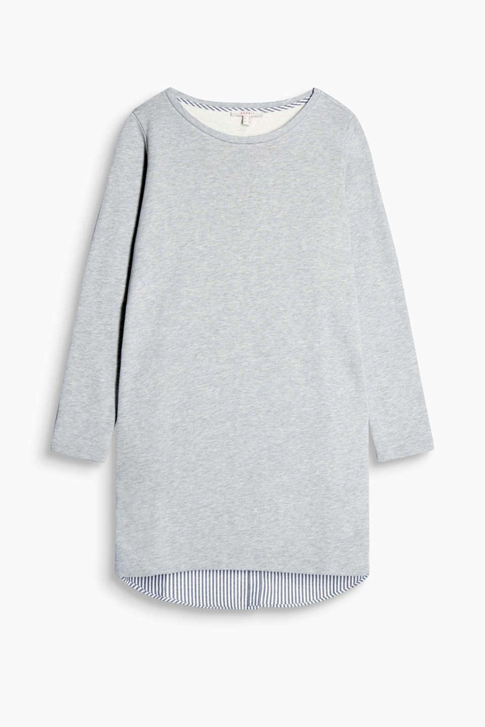 Casual dress with a sweatshirt front and a back made of striped cloth, blended cotton