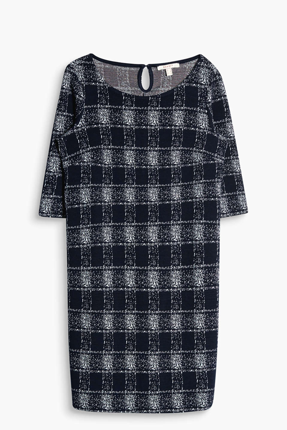 Ravishingly retro: figure-hugging, stretch jersey dress with a textured check pattern