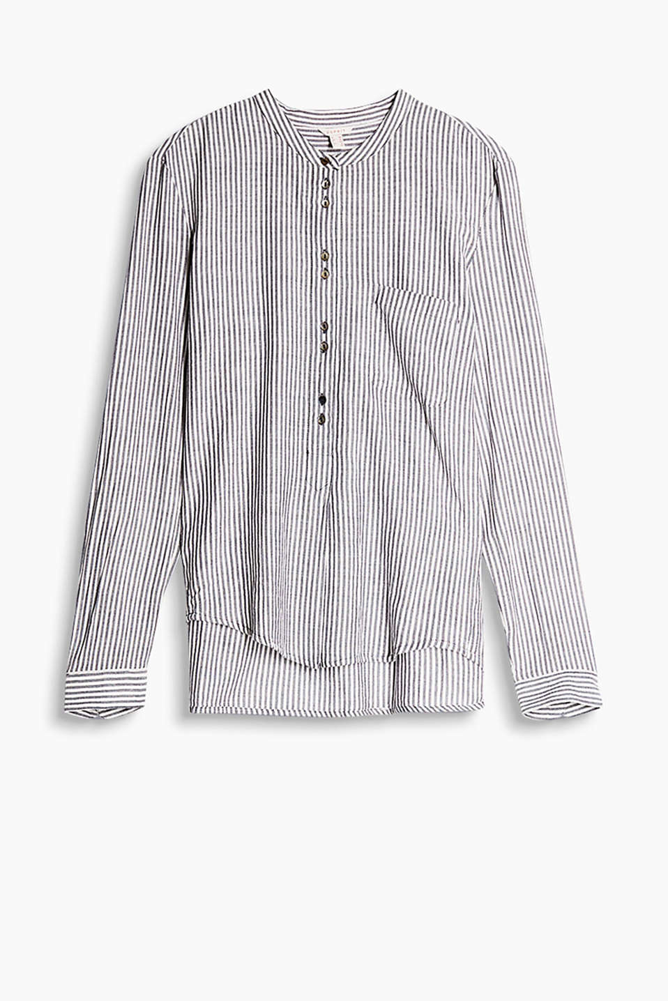 Airy shirt blouse with a stripe pattern, stand-up collar and long button placket
