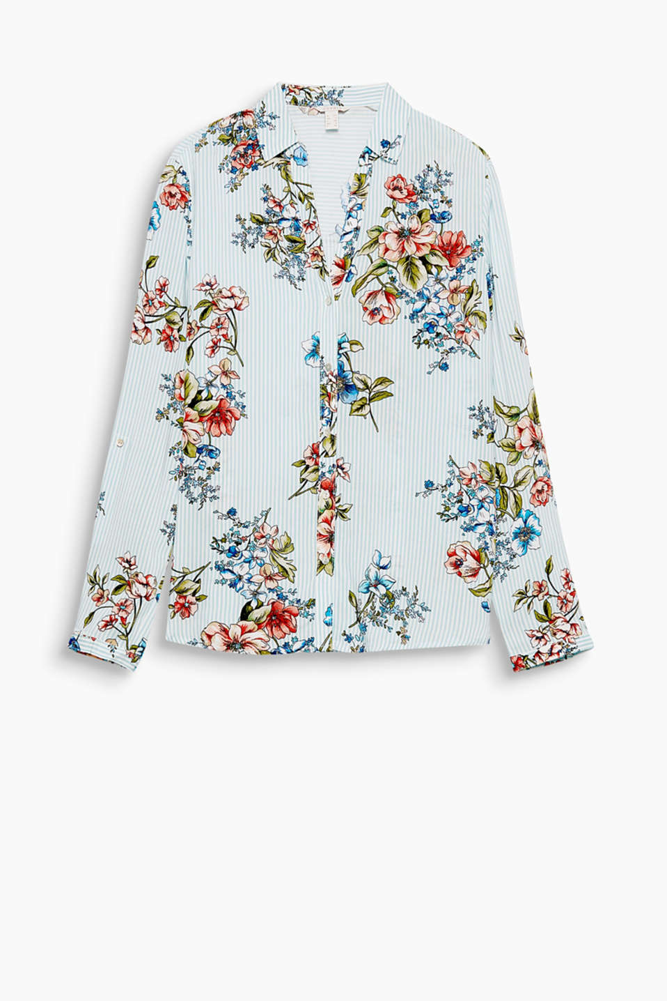 Flowing blouse with an innovative print, open collar and adjustable, turn-up sleeves