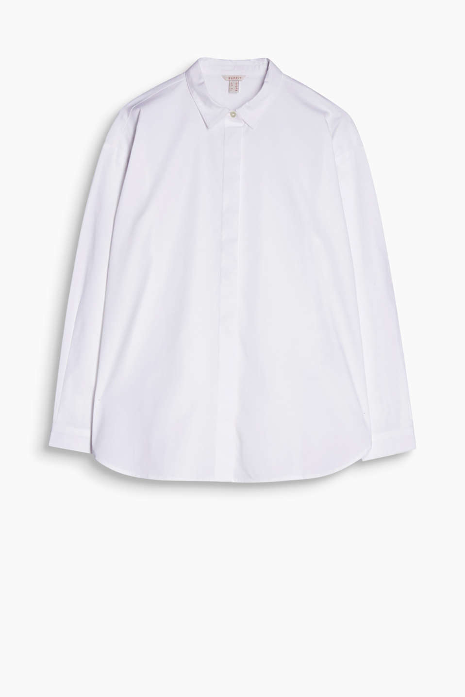 Oversized, stretch cotton blouse with a concealed button placket and round hem