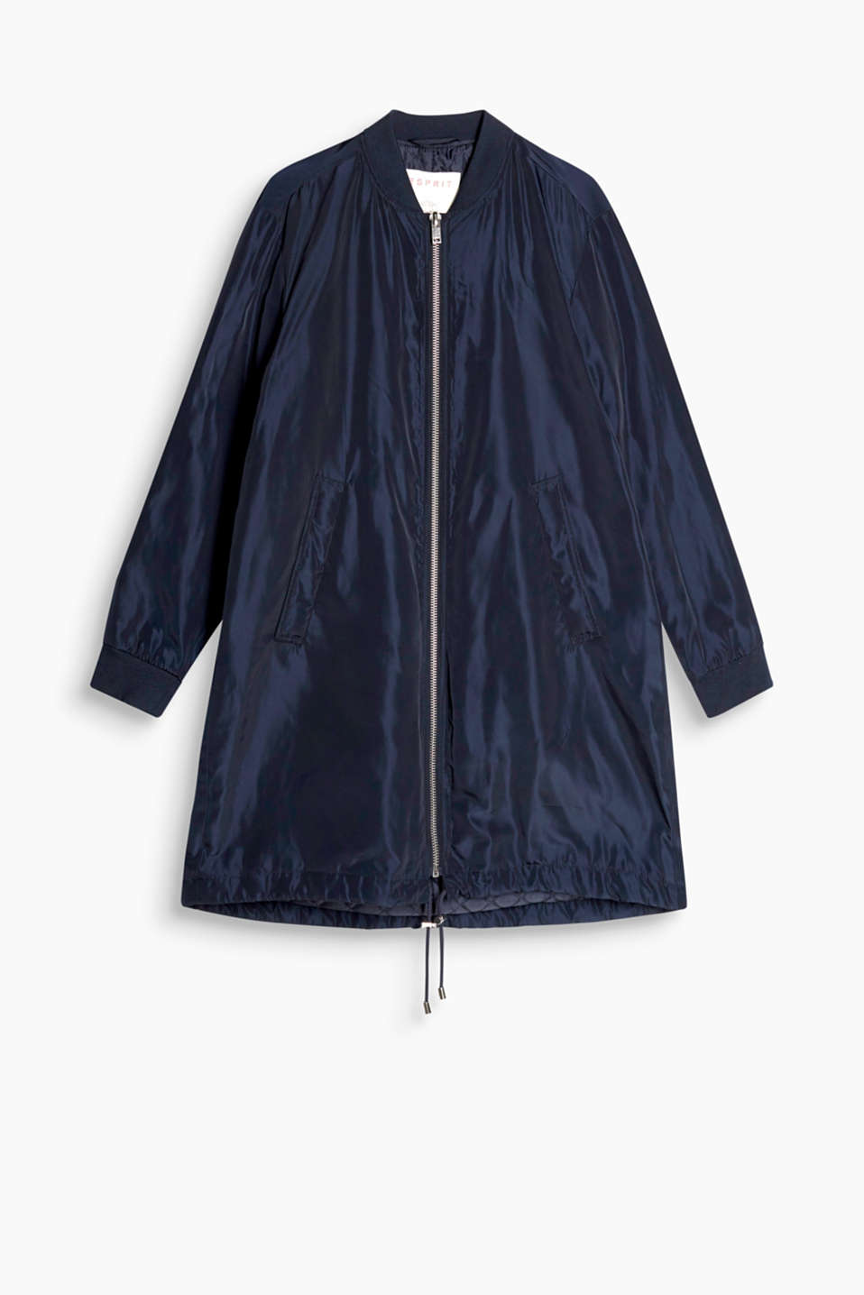 Lightly padded, shiny coat in a bomber jacket design featuring ribbed borders and a front zip