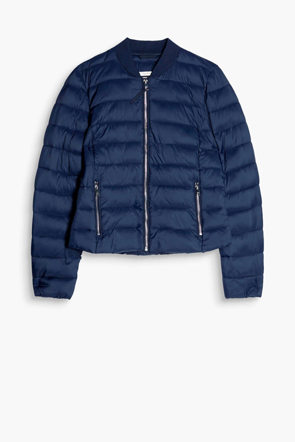 We love lightweight quilted style - and this fitted, short jacket with a knitted collar and chunky zips!
